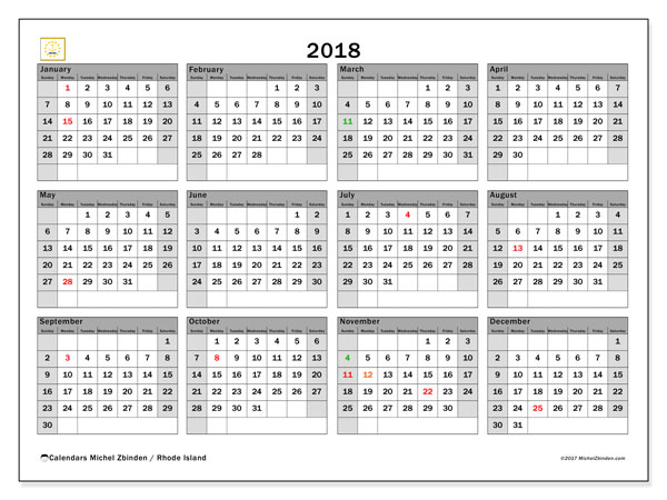 Calendar 2018, with the holidays of Rhode Island. Monthly planner to print free.