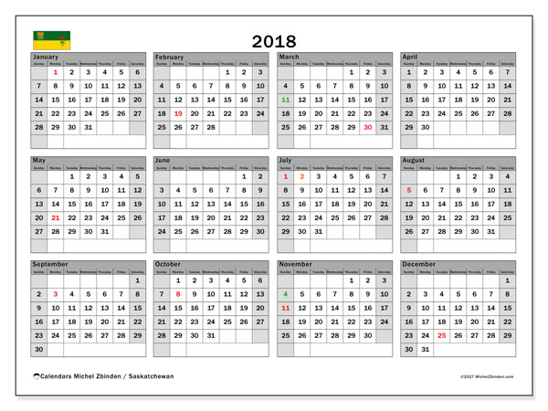 Calendar 2018, with the holidays of Saskatchewan. Calendar for the month to print free.