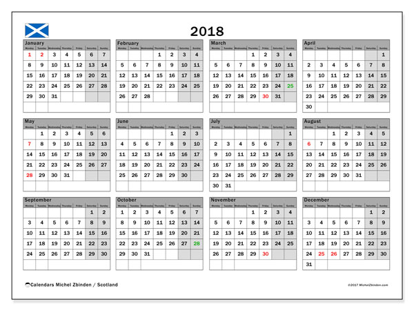 Calendar 2018, with the holidays of Scotland. Free printable bullet journal.