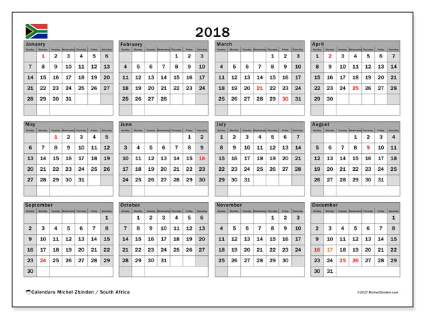 Free printable calendar 2018, with holidays for South Africa