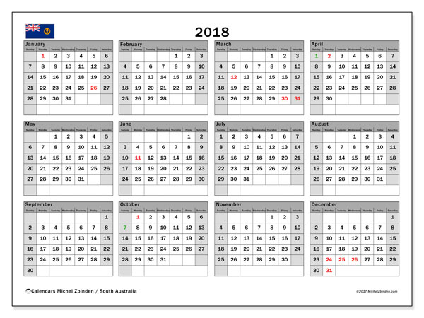 calendar 2018 with the holidays of south australia free printable monthly calendar