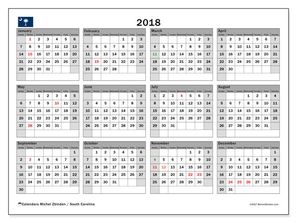 Calendar 2018, with the holidays of South Carolina. Free calendar to print.