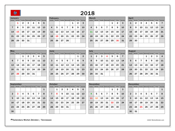 Calendar 2018, with the holidays of Tennessee. Calendar to print free.