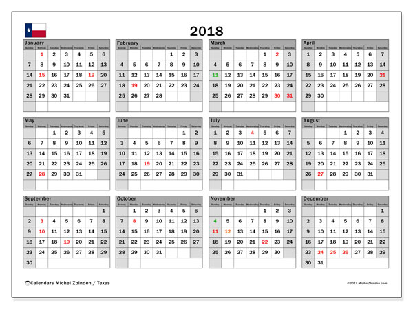 Calendar 2018, with the holidays of Texas. Calendar for the month to print free.