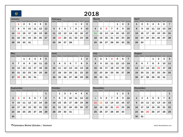Calendar 2018, with the holidays of Vermont. Free printable monthly planner.