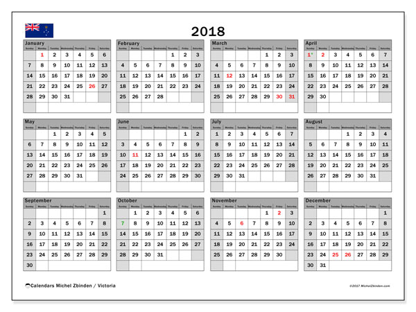Calendar 2018, with the holidays of Victoria. Free calendar to print.