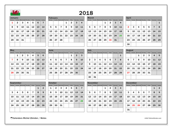 Free printable calendar 2018, with holidays for Wales