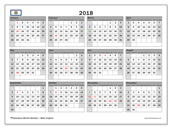 Calendar 2018, with the holidays of West Virginia. Monthly planner to print free.