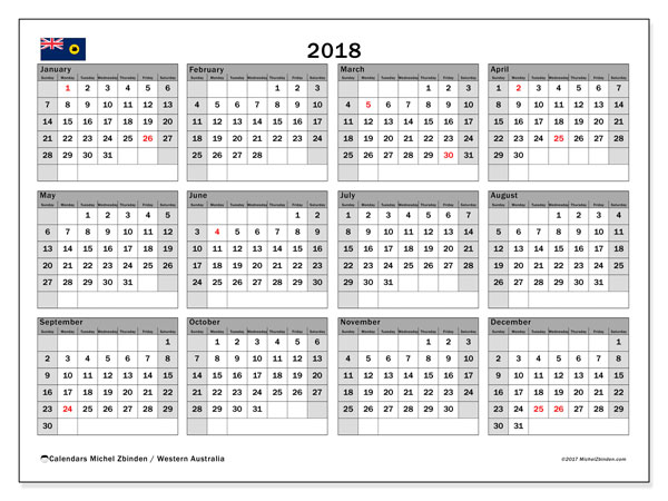 Calendar 2018, with the holidays of Western Australia. Free printable monthly calendar.