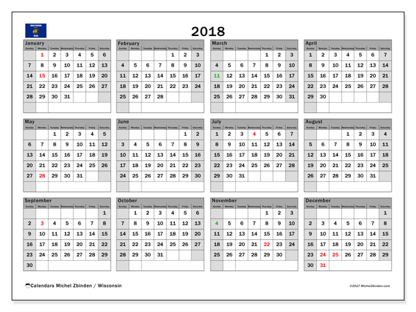 Calendar 2018, with the holidays of Wisconsin. Free calendar to print.