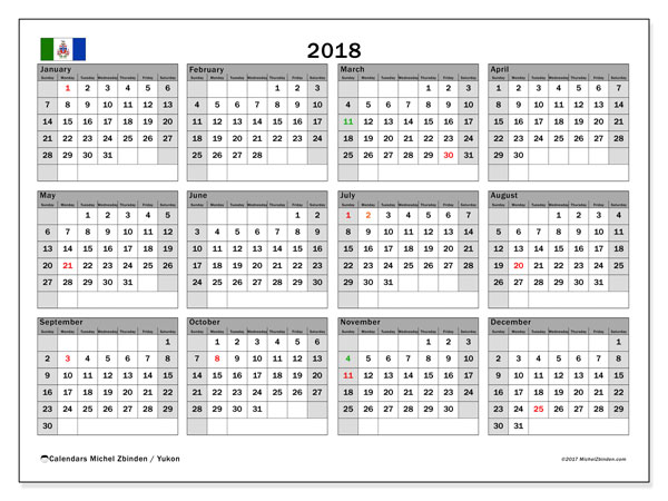 Calendar 2018, with the holidays of Yukon. Planner to print free.