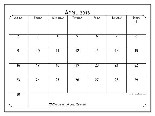 calendar april 2018 51ms