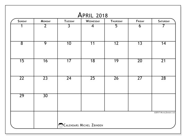 Calendar April 2018 (51SS). Planner to print free.