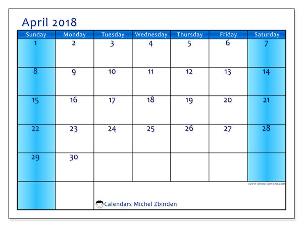 Calendar April 2018 (58SS). Free bullet journal to print.
