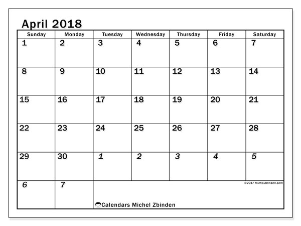 Calendar April 2018 (66SS). Monthly planner to print free.