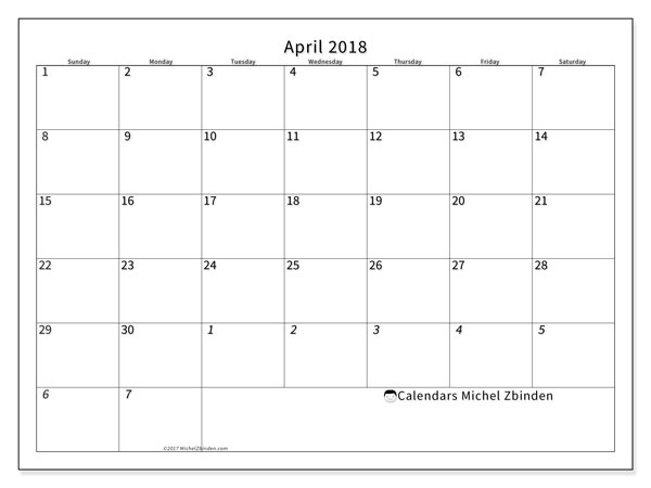 Calendar April 2018 (70SS). Free bullet journal to print.