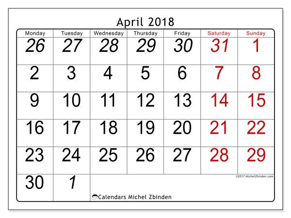 Calendar April 2018 (72MS). Planner to print free.