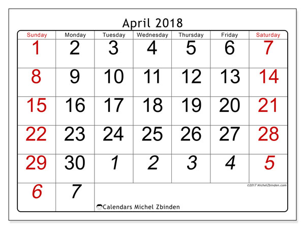 Calendar April 2018 (72SS). Free printable monthly planner.