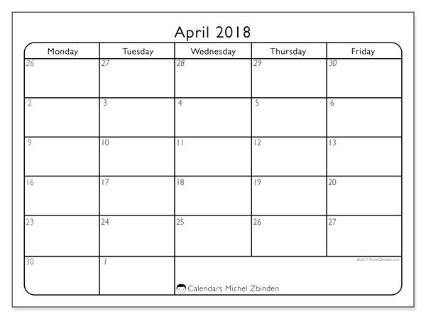 monthly calendar april 2018