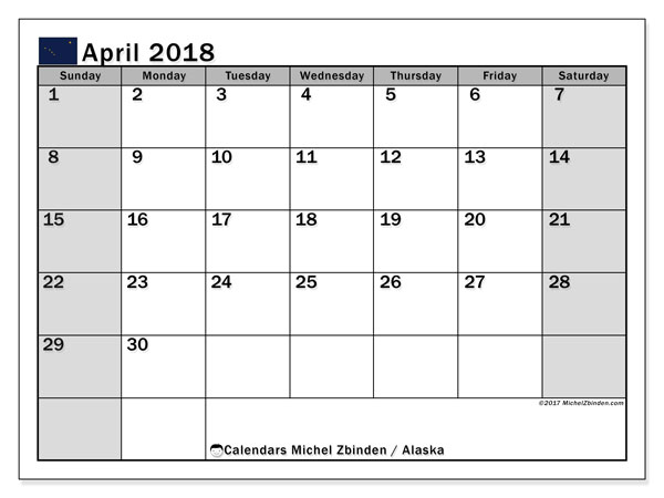 Calendar April 2018, with the holidays of Alaska. Free printable planner.