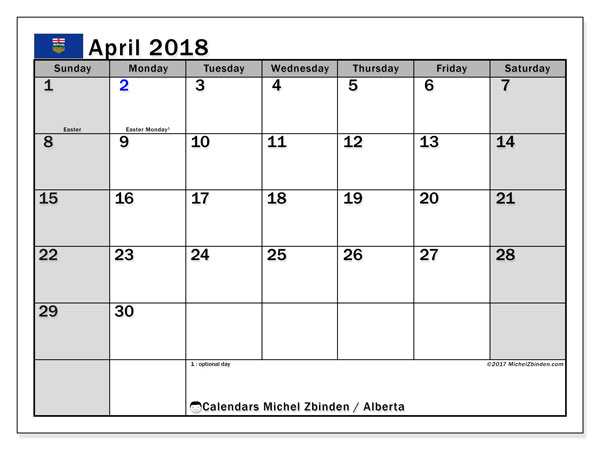 Calendar April 2018, with the holidays of Alberta. Free calendar to print.