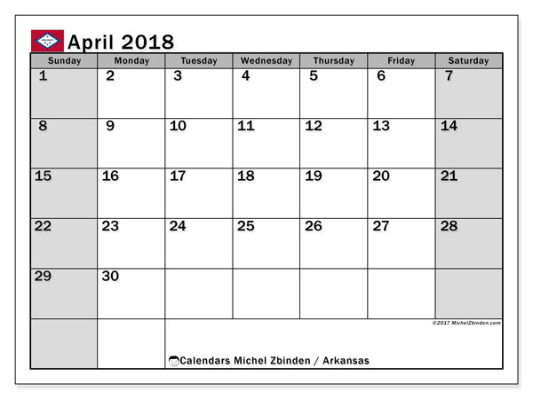 Calendar April 2018, with the holidays of Arkansas. Free bullet journal to print.