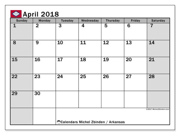 Calendar April 2018, with the holidays of Arkansas. Free printable bullet journal.