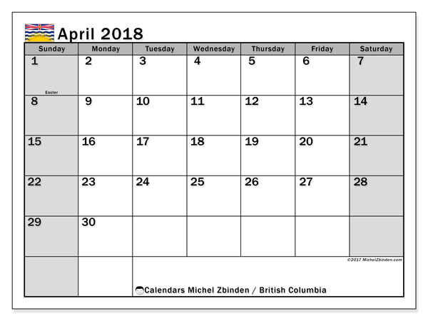 Calendar April 2018, with the holidays of British Columbia. Bullet journal to print free.