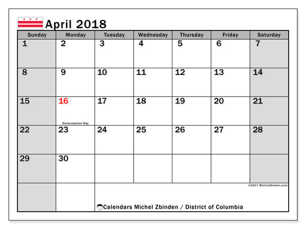 Calendar April 2018, with the holidays of the District of Columbia. Free calendar to print.