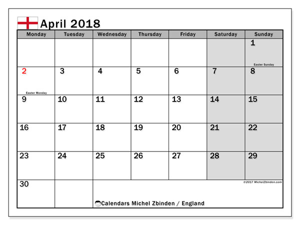 Free printable calendar April 2018, with holidays for England