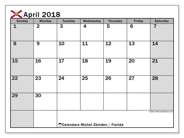 Calendar April 2018, with the holidays of Florida. Free printable calendar.