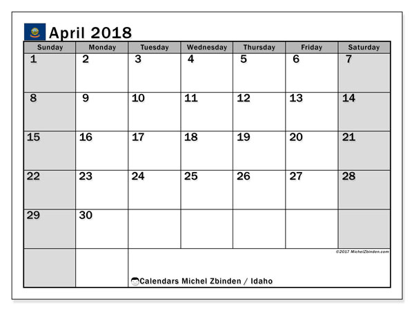 Calendar April 2018, with the holidays of Idaho. Bullet journal to print free.