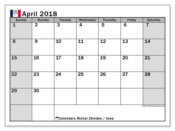 Calendar April 2018, with the holidays of Iowa. Free printable monthly calendar.