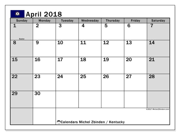 Calendar April 2018, with the holidays of Kentucky. Bullet journal to print free.