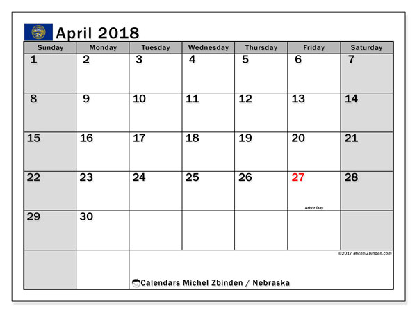 Calendar April 2018, with the holidays of Nebraska. Free printable bullet journal.
