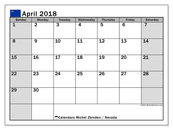 Calendar April 2018, with the holidays of Nevada. Free planner to print.