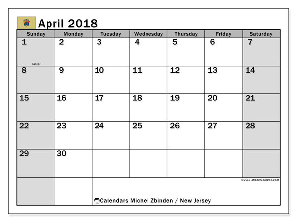 Calendar April 2018, with the holidays of New Jersey. Free printable monthly calendar.