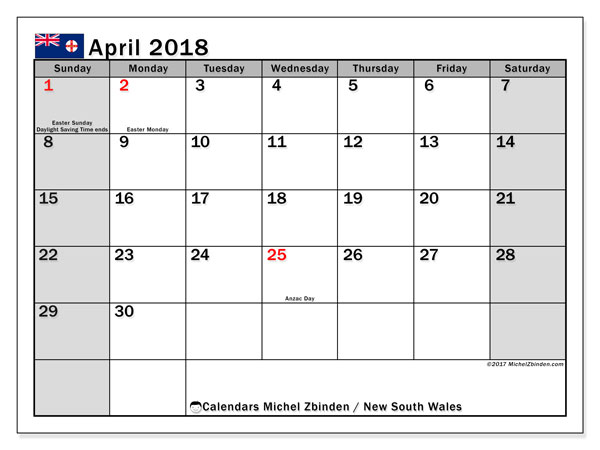 Calendar April 2018, with the holidays of New South Wales. Free printable monthly planner.