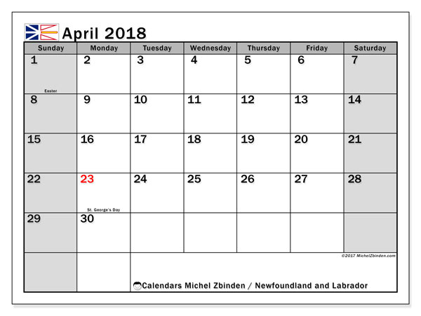 Calendar Newfoundland and Labrador, April 2018