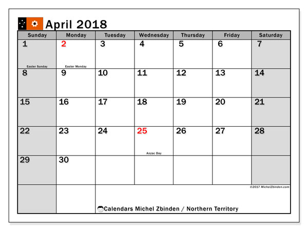 Free printable calendar April 2018, with holidays for Northern Territory