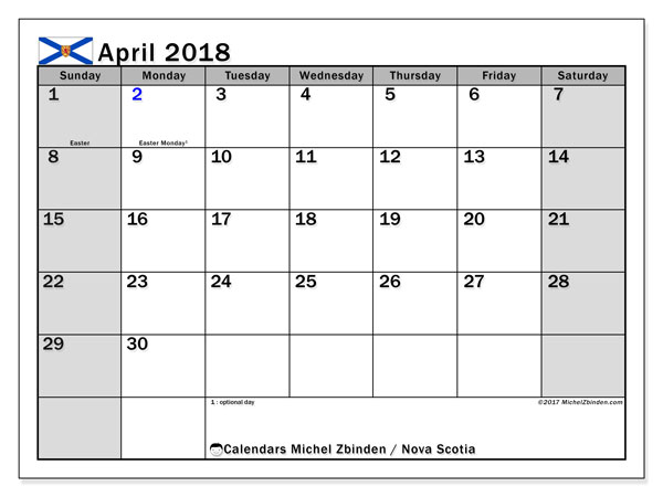 Calendar Nova Scotia, April 2018