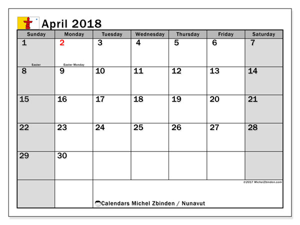 Calendar April 2018, with the holidays of Nunavut. Free printable calendar.