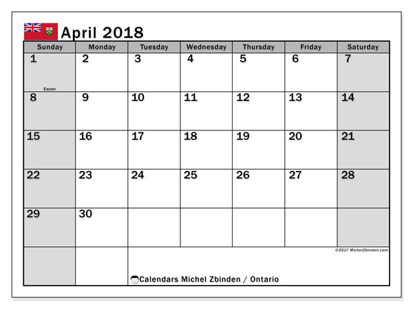 calendar april 2018 with the holidays of ontario calendar for the month to print