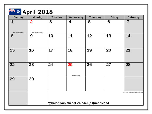 Calendar April 2018, with the holidays of Queensland. Free printable calendar.