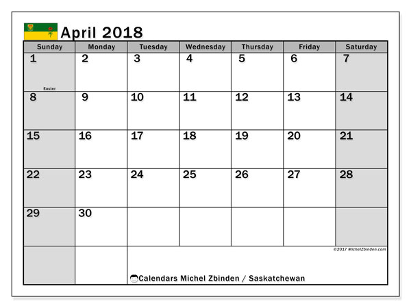 Calendar April 2018, with the holidays of Saskatchewan. Free calendar to print.