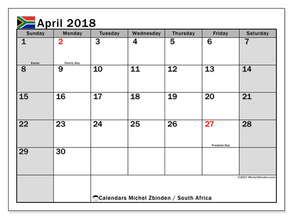 Calendar April 2018, South Africa - Michel Zbinden (en)