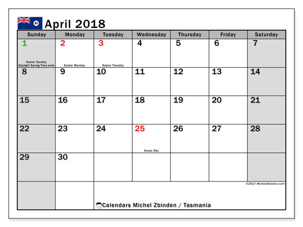 Free printable calendar April 2018, with the holidays of Tasmania. Monthly calendar.