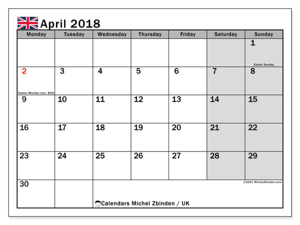 Free printable calendar April 2018, with holidays for the UK