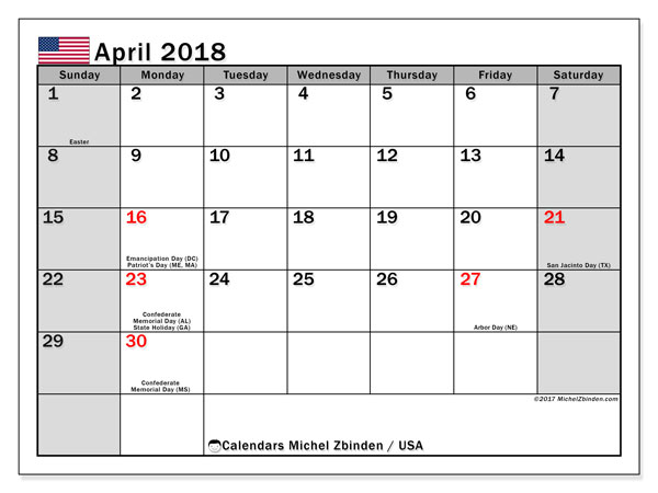 Calendar April 2018, with the holidays of the USA. Free printable monthly planner.