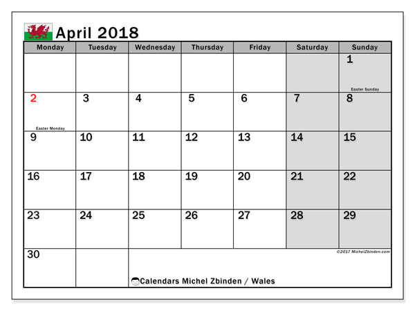 Calendar April 2018, with the holidays of Wales. Bullet journal to print free.
